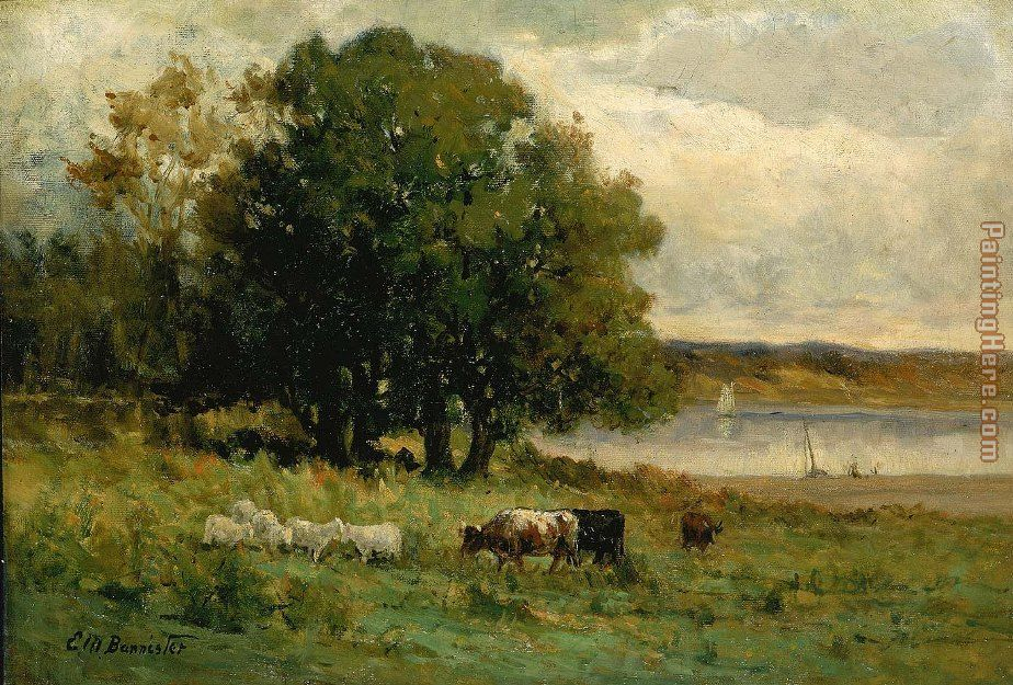 cattle near river with sailboat in distance painting - Edward Mitchell Bannister cattle near river with sailboat in distance art painting