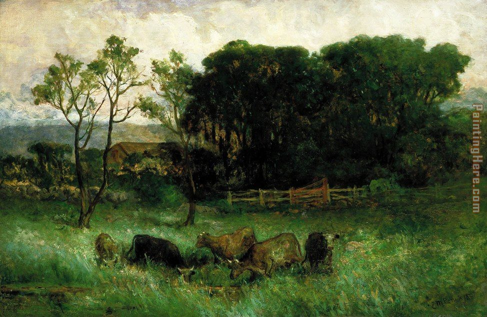 five cows in pasture painting - Edward Mitchell Bannister five cows in pasture art painting
