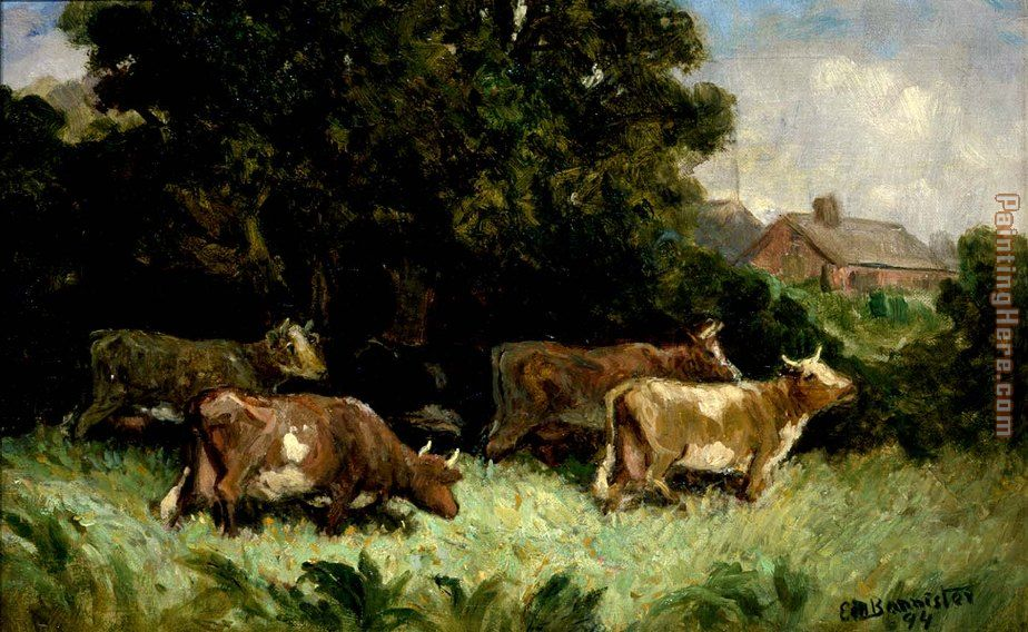 Edward Mitchell Bannister five cows in pasture, rooftop in background Art Painting