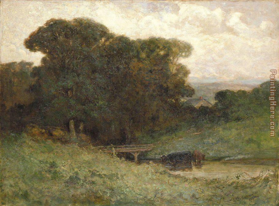 forest scene with bridge, cows in stream in foreground painting - Edward Mitchell Bannister forest scene with bridge, cows in stream in foreground art painting