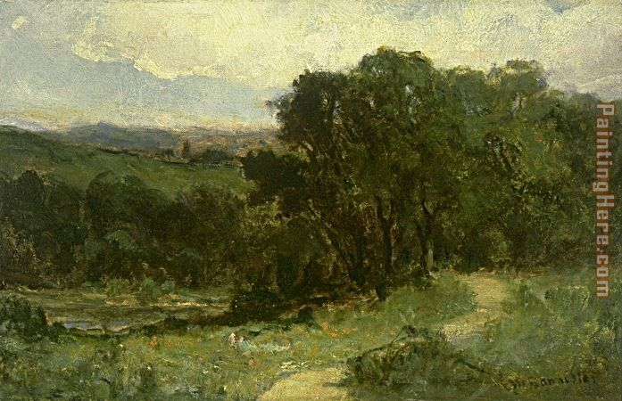 landscape with road near stream and trees painting - Edward Mitchell Bannister landscape with road near stream and trees art painting