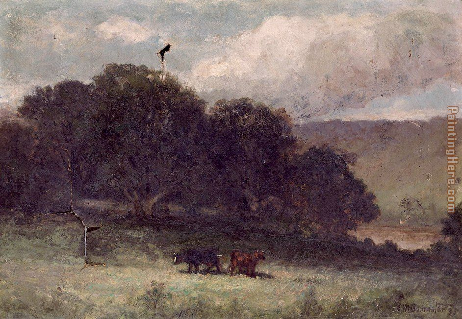 landscape with trees and two cows in meadow painting - Edward Mitchell Bannister landscape with trees and two cows in meadow art painting