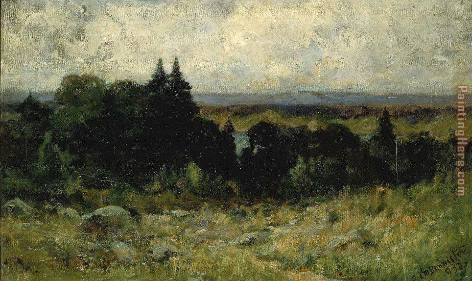 landscape, fields with rocks and trees painting - Edward Mitchell Bannister landscape, fields with rocks and trees art painting