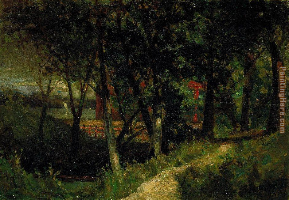 landscape, forest scene with red fence and building painting - Edward Mitchell Bannister landscape, forest scene with red fence and building art painting