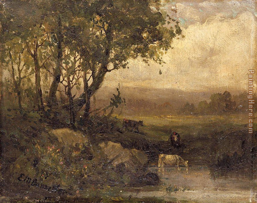 landscape, riverbank, three cows painting - Edward Mitchell Bannister landscape, riverbank, three cows art painting