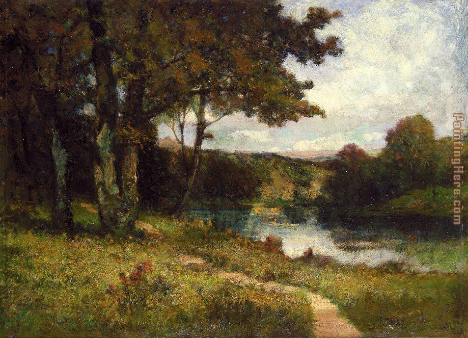landscape, trees near river painting - Edward Mitchell Bannister landscape, trees near river art painting