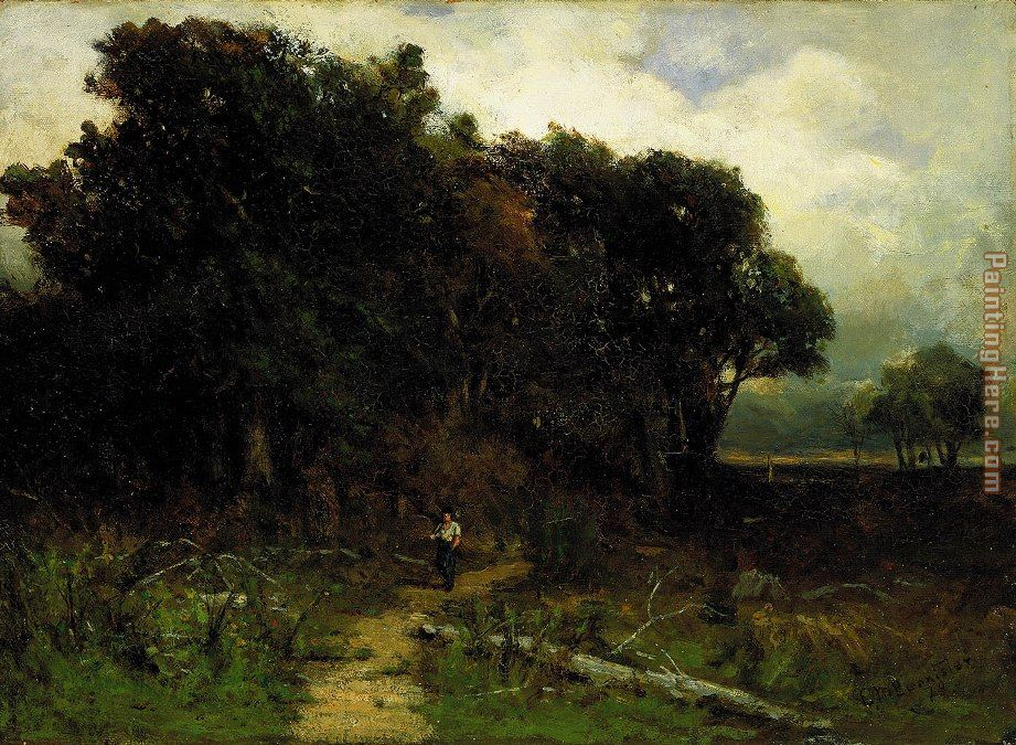 landscape, woodcutter on path painting - Edward Mitchell Bannister landscape, woodcutter on path art painting