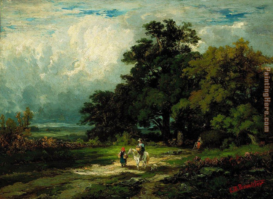 man on horse with woman and dog painting - Edward Mitchell Bannister man on horse with woman and dog art painting