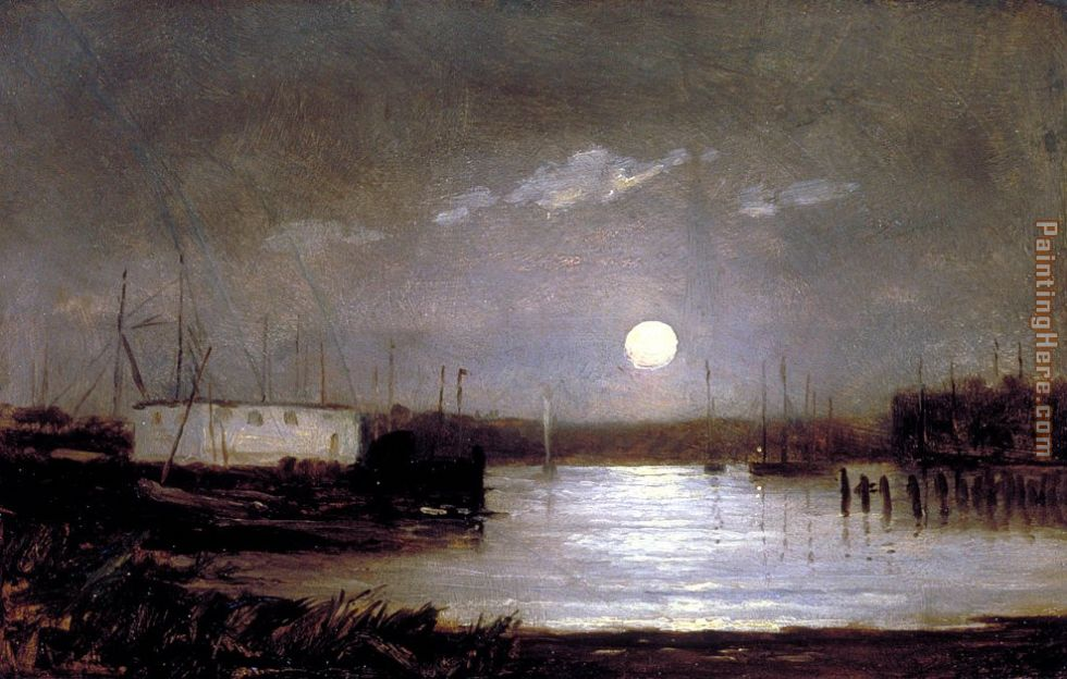 moon over a harbor, wharf scene with full moon and masts of boats painting - Edward Mitchell Bannister moon over a harbor, wharf scene with full moon and masts of boats art painting