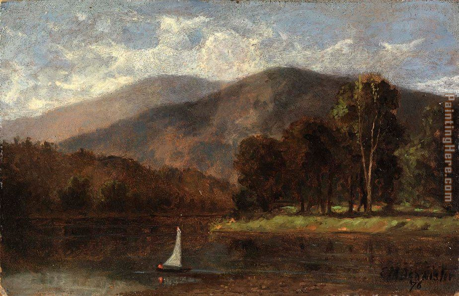 sailboat in river painting - Edward Mitchell Bannister sailboat in river art painting