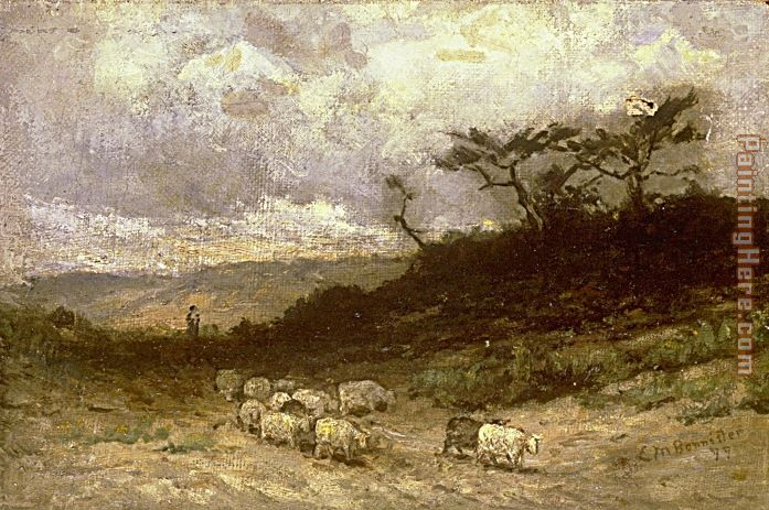 shepherd and sheep. shepherd with sheep