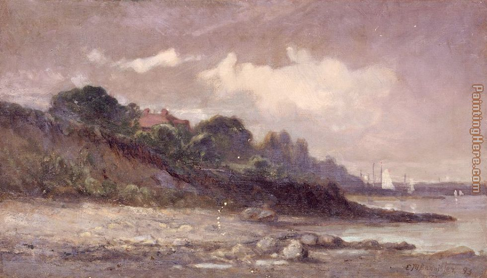 shoreline with sailboats and roof painting - Edward Mitchell Bannister shoreline with sailboats and roof art painting