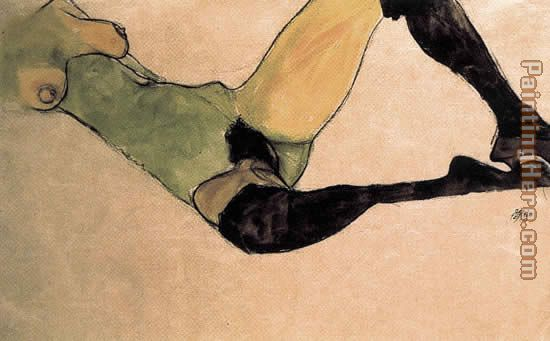 A woman nude body painting - Egon Schiele A woman nude body art painting