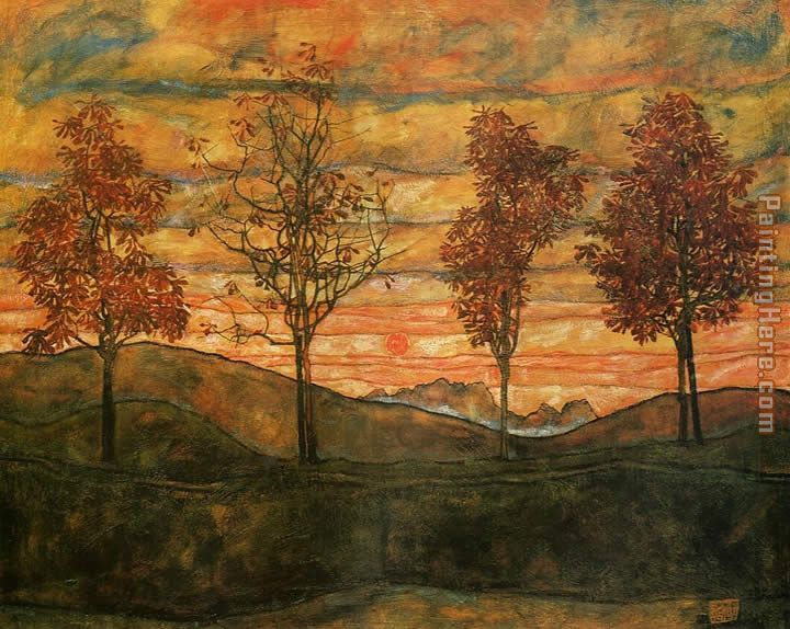 Four Trees painting - Egon Schiele Four Trees art painting