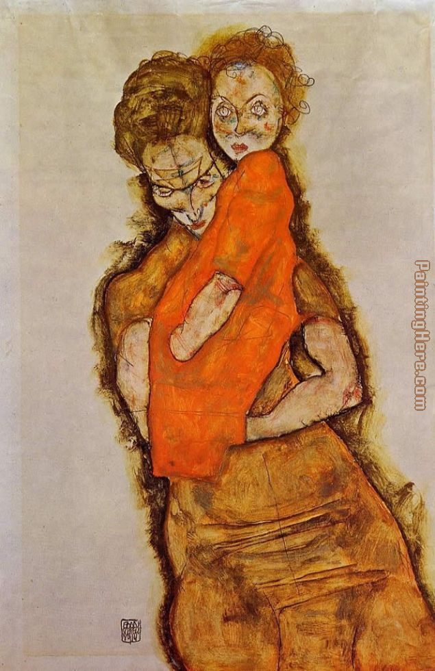 Mother and Child painting - Egon Schiele Mother and Child art painting