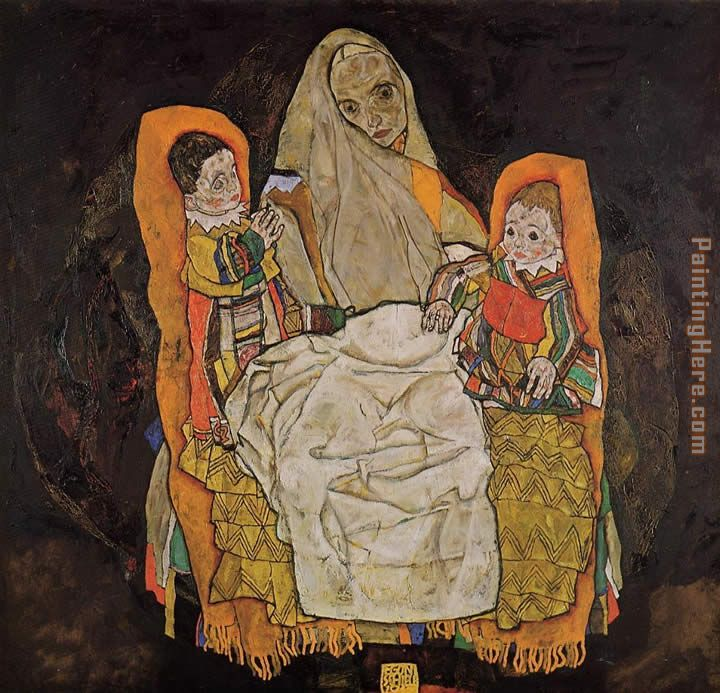 Egon Schiele Mother with Two Children Art Painting