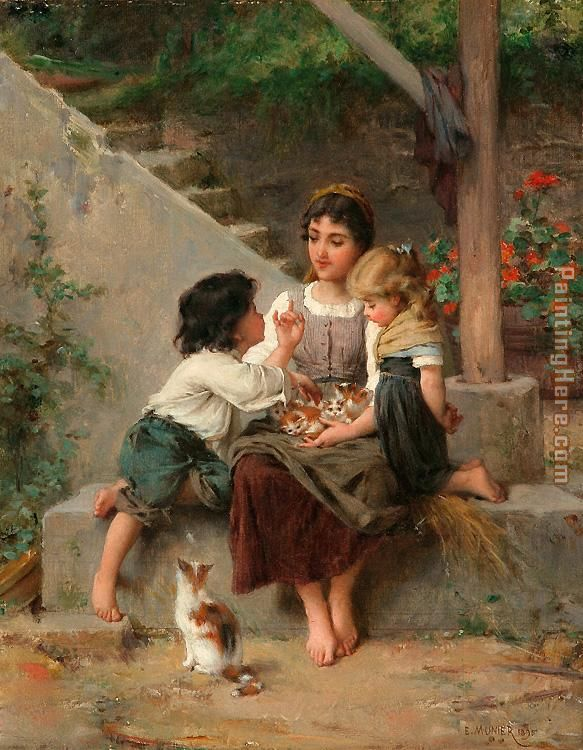 Playing with the Kittens painting - Emile Munier Playing with the Kittens art painting