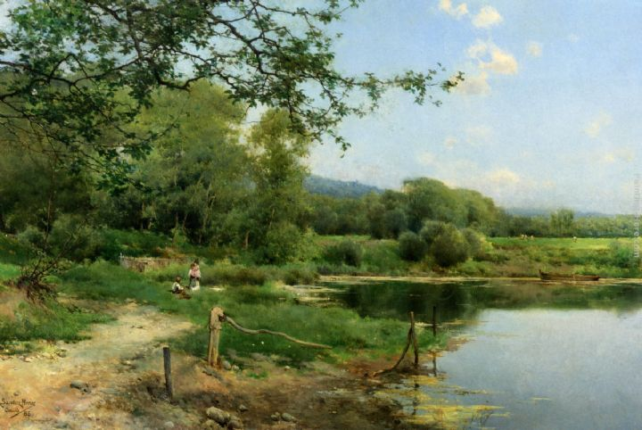 A Picnic on the Riverbank painting - Emilio Sanchez-Perrier A Picnic on the Riverbank art painting