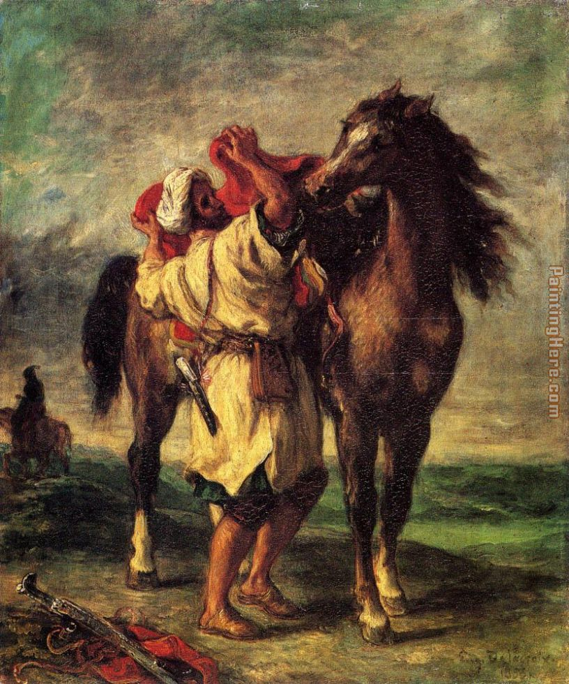 A Moroccan Saddling A Horse painting - Eugene Delacroix A Moroccan Saddling A Horse art painting