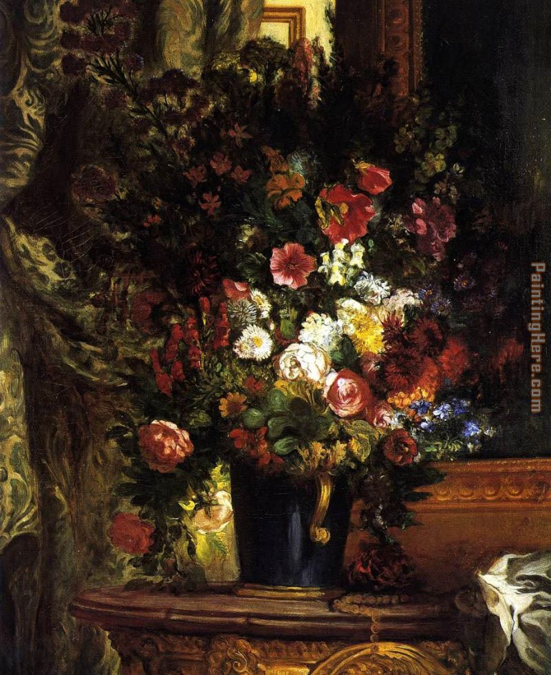 A Vase of Flowers on a Console painting - Eugene Delacroix A Vase of Flowers on a Console art painting