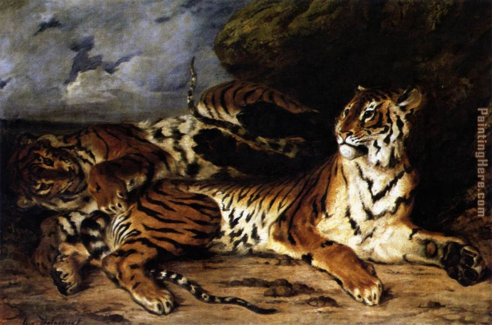 A Young Tiger Playing with its Mother painting - Eugene Delacroix A Young Tiger Playing with its Mother art painting