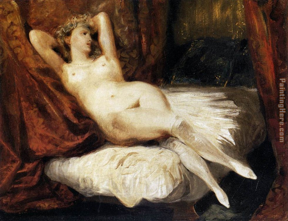 Female Nude Reclining on a Divan painting - Eugene Delacroix Female Nude Reclining on a Divan art painting