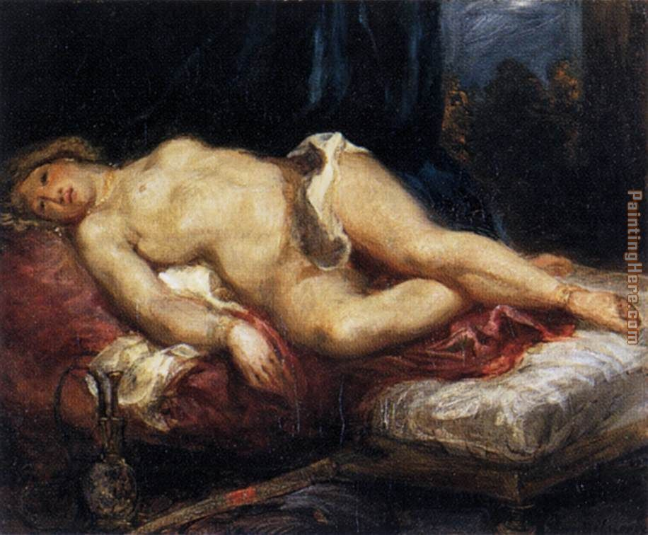 Eugene Delacroix Odalisque Reclining on a Divan Art Painting