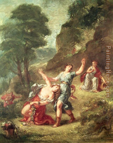 Orpheus and Eurydice Spring from a series of the Four Seasons 1862 painting - Eugene Delacroix Orpheus and Eurydice Spring from a series of the Four Seasons 1862 art painting