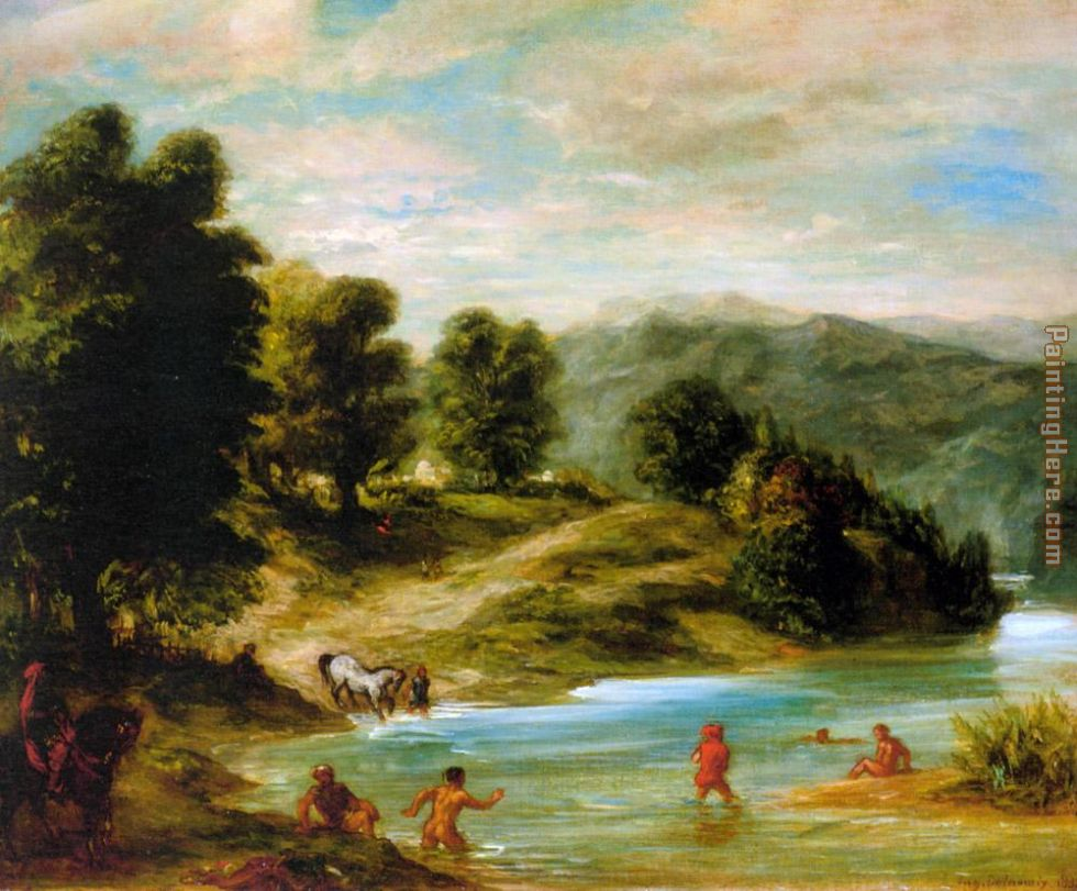 The Banks of the River Sebou painting - Eugene Delacroix The Banks of the River Sebou art painting