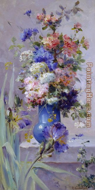 Summer Flowers with Japanese Iris painting - Eugene Henri Cauchois Summer Flowers with Japanese Iris art painting