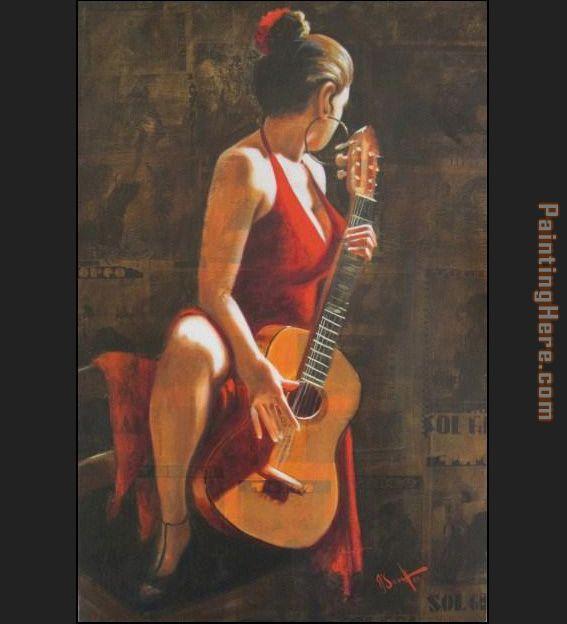 Sexy Flamenca Guitar Flamenco Dancer David Silvah Painting
