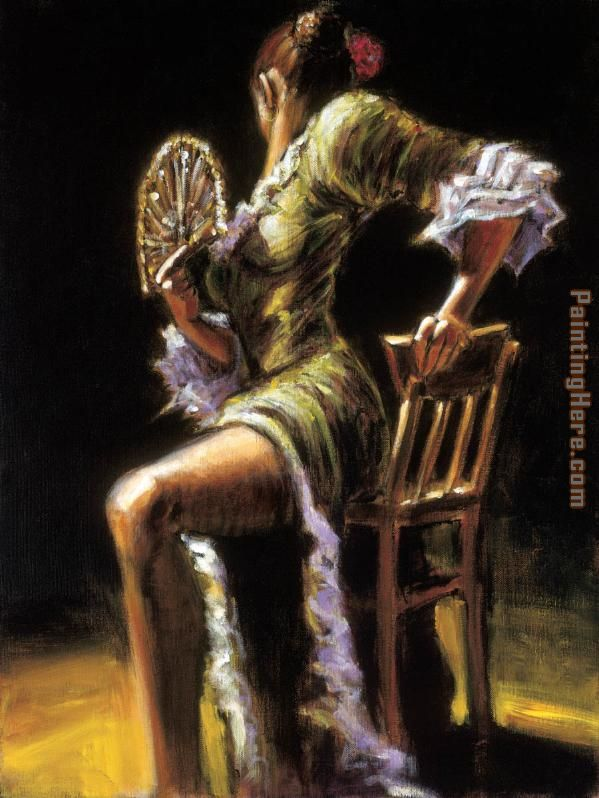 FLAMENCO DANCER II with fan painting - Fabian Perez FLAMENCO DANCER II with fan art painting