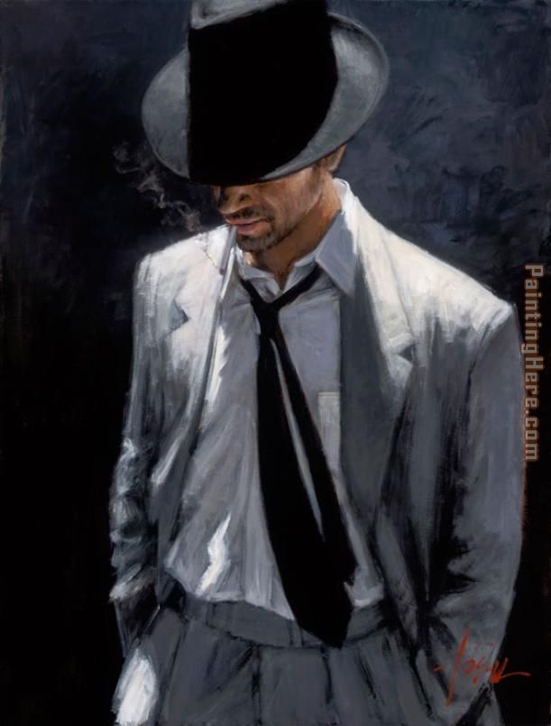 Fabian Perez MAN IN WHITE SUIT IV Art Painting