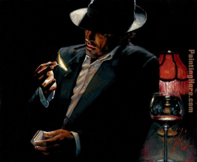 Man lighting Cigarette II painting - Fabian Perez Man lighting Cigarette II art painting