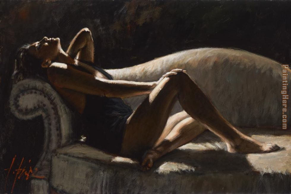 Fabian Perez Paola on thhe Couch Art Painting