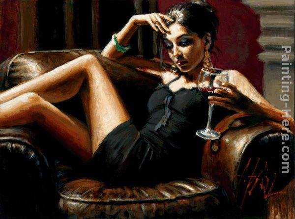 Fabian Perez Red on Red III Art Painting