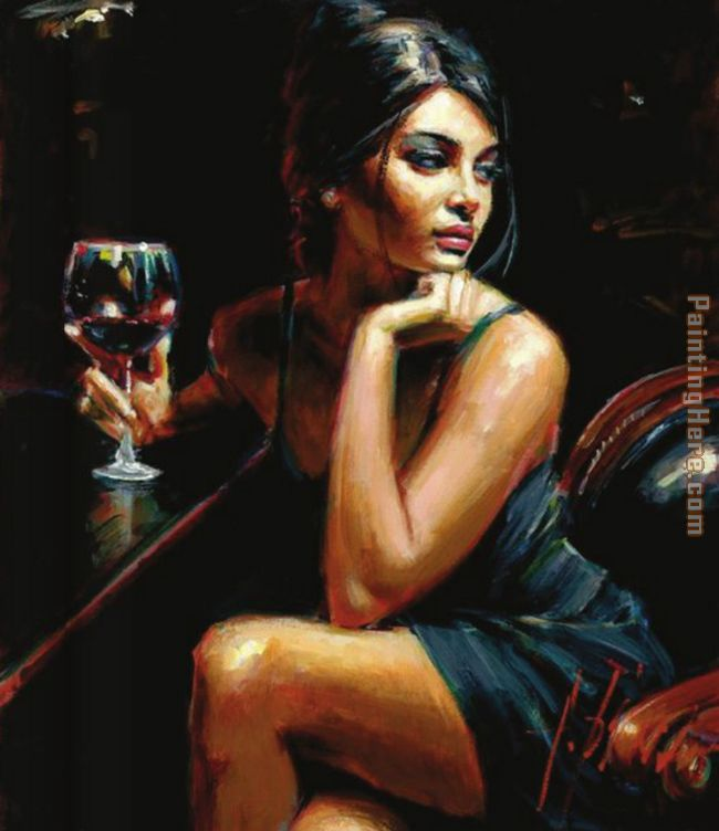 Saba with a glass of red wine painting - Fabian Perez Saba with a glass of red wine art painting