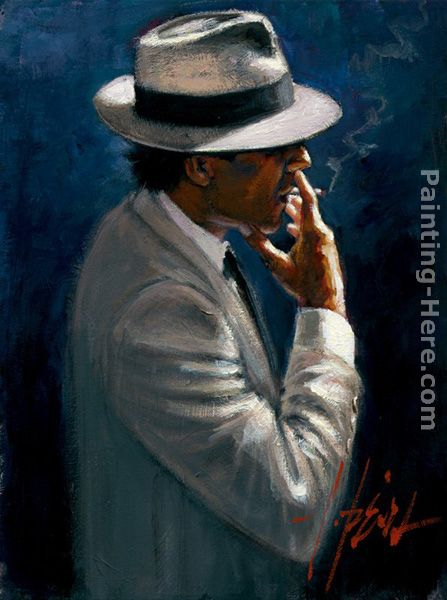 fabian perez smoking under the light white suit painting anysize 50