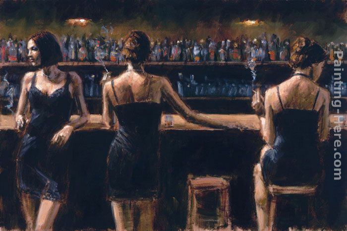 Study For 3 Girls in Bar painting - Fabian Perez Study For 3 Girls in Bar art painting