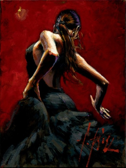 dancer in red black dress painting - Fabian Perez dancer in red black dress art painting