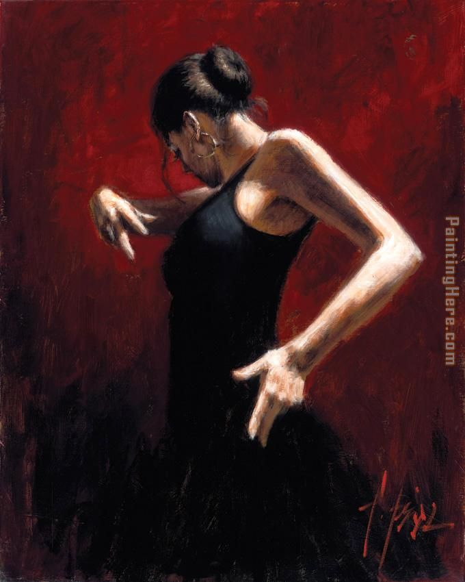 El Baile del Flamenco en Rojo I painting - Flamenco Dancer El Baile del Flamenco en Rojo I art painting