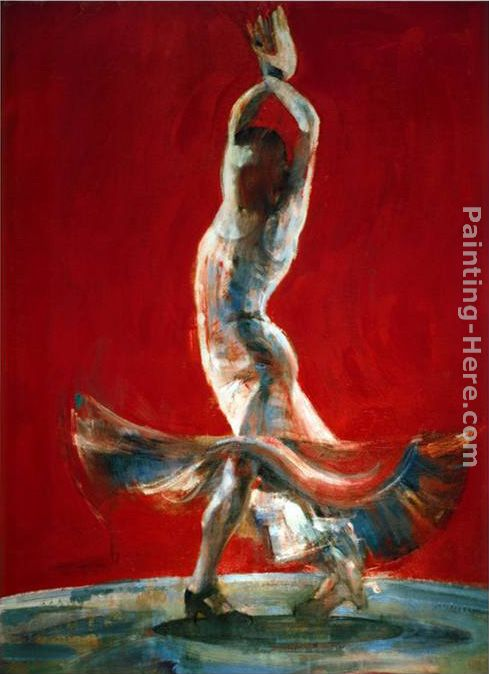 Flowing Dress painting - Flamenco Dancer Flowing Dress art painting