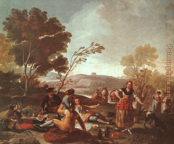 Picnic on the Banks of the Manzanares painting - Francisco de Goya Picnic on the Banks of the Manzanares art painting