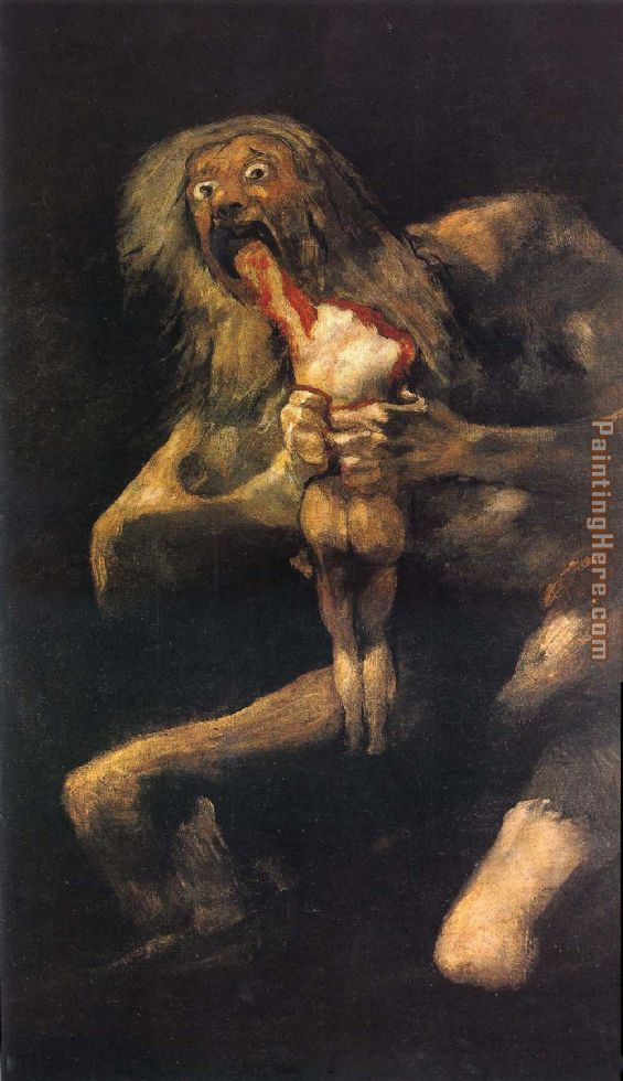 Saturn devouring his young painting - Francisco de Goya Saturn devouring his young art painting