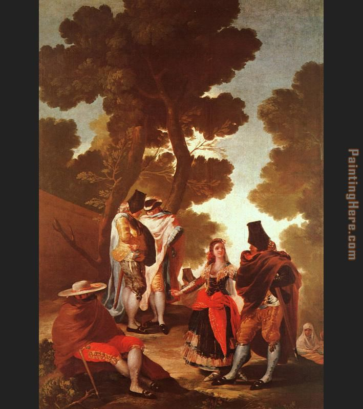 The Maja and the Masked Men painting - Francisco de Goya The Maja and the Masked Men art painting