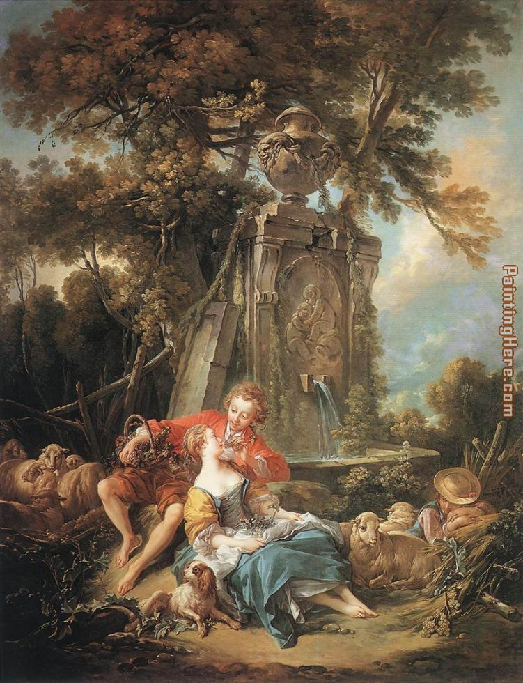 Francois Boucher An Autumn Pastoral Art Painting