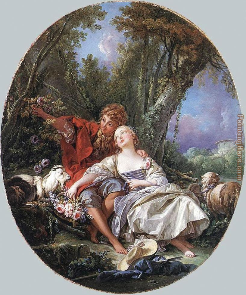 Shepherd and Shepherdess Reposing painting - Francois Boucher Shepherd and Shepherdess Reposing art painting