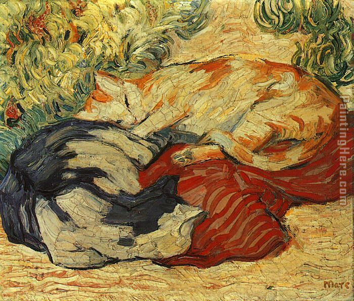 Franz Marc Cats on a Red Cloth Art Painting