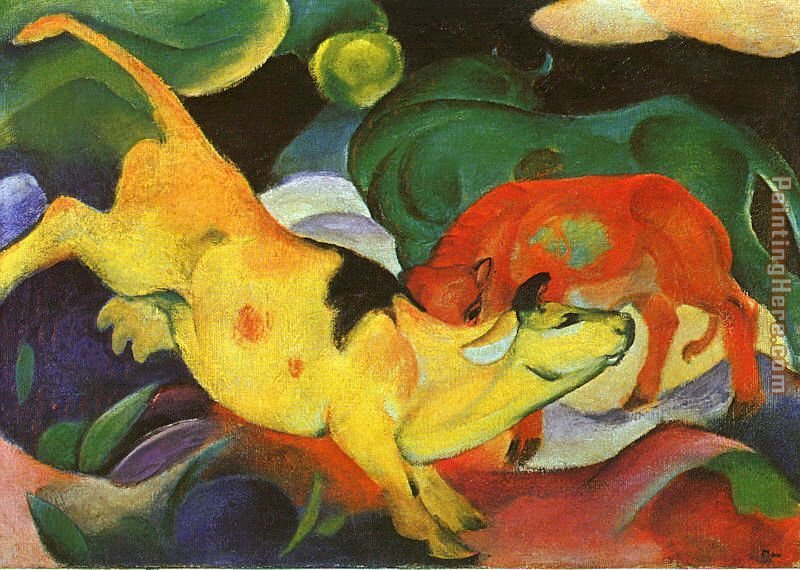 Franz Marc Cows Yellow Red Green Art Painting