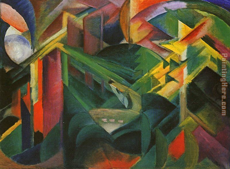 Franz Marc Deer in a Monastery Garden Art Painting